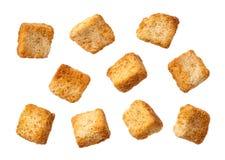 Geïsoleerde croutons Stock Foto