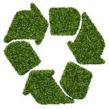 Geïsoleerde 3d geeft natuurlijk blad recyclingssymbool met wit terug Stock Afbeelding