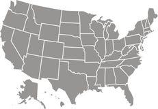 Geïsoleerde de kaart van de V.S. Stock Foto's