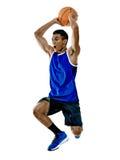 Geïsoleerde de mens van de basketbalspeler Stock Foto