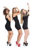 Geïsoleerde groep meisjes die dansen Stock Foto