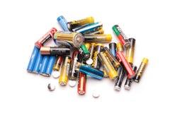 Geïsoleerde groep oude batterijen Stock Fotografie