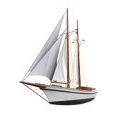 Geïsoleerde het schip van het zeil Stock Foto