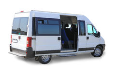 Geïsoleerde minibus Stock Fotografie