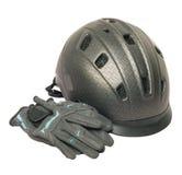 Geïsoleerde paardrijden grijze helm en handschoenen Stock Foto's