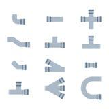 Geïsoleerde pijpen vectorpictogrammen Stock Fotografie