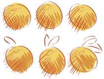 Geïsoleerde schetsen van perziken Royalty-vrije Stock Afbeeldingen