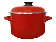 Geïsoleerde steelpan - rood Stock Afbeeldingen