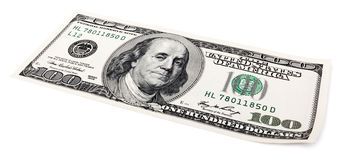 Geïsoleerde US$ Rekening 100 Royalty-vrije Stock Afbeeldingen