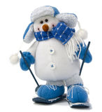 Geïsoleerdee sneeuwman in ski Stock Foto's