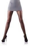 Geïsoleerdes vrouw met lange benen Royalty-vrije Stock Afbeeldingen