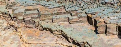 Gesorteerde rotsfragmenten Close-up brede achtergrond royalty-vrije stock fotografie