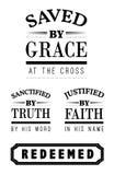 Gespaard door Grace Christian Emblem Lettering-inzameling royalty-vrije illustratie