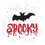 Gespenstisch - Halloween-Parteihand gezeichnet, Phrasenkarte beschriftend Spaßbürstentintentypographie-Grußkarte, Illustration fü Stockfoto