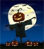 Gespenstische Kürbise auf einer Halloween-Nacht Stockbilder
