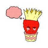 gespenstische Karikatur des Schädelkleinen kuchens mit Gedankenblase Stockbild
