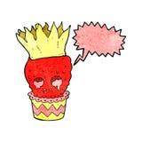 gespenstische Karikatur des Schädelkleinen kuchens mit Spracheblase Stockbilder