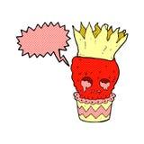 gespenstische Karikatur des Schädelkleinen kuchens mit Spracheblase Stockfotos