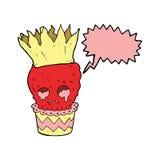 gespenstische Karikatur des Schädelkleinen kuchens mit Spracheblase Stockbild