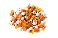 Gespenstische orange Halloween-Süßigkeit Stockbild