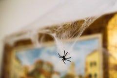Gespenstische Plastikspinne, die am spiderweb für Halloween hängt Lizenzfreies Stockbild