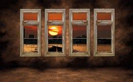 Gespenstische Stadt-Ansicht am Sonnenaufgang Stockfoto