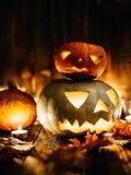 Gespenstische Steckfassung-Olaternen Halloweens Stockfoto