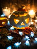 Gespenstische Steckfassung-Olaternen Halloweens Stockbilder