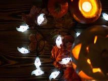 Gespenstische Steckfassung-Olaternen Halloweens Lizenzfreie Stockbilder