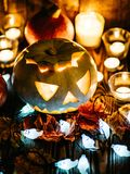 Gespenstische Steckfassung-Olaternen Halloweens Stockbild