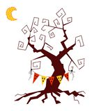 Gespenstischer Baum der netten Karikatur lizenzfreie abbildung