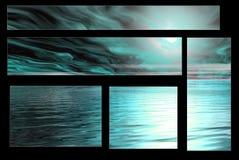 Gespenstischer blauer Himmel und Wasser Stockbilder
