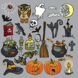 Gespenstischer Elementsatz Halloween-Hexe Stockfotos