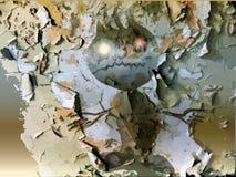Gespenstischer Geist, der von hinten die gebrochene Wand steigt Stockfotografie