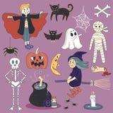 Gespenstischer Halloween-Albtraum-Geist-Vektor-Illustrations-Satz Lizenzfreie Stockbilder