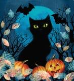 Gespenstischer Hintergrund mit Herbstbaum, schwarzer Katze, Schlägern und Kürbisen Lizenzfreies Stockfoto