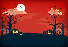 Gespenstischer roter und dunkelblauer Nachthintergrund mit Vollmond, Wolken, bloßen Bäumen, Schlägern und Kürbisen vektor abbildung
