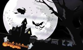 Gespenstisches Haus nachts Halloweens Lizenzfreies Stockfoto