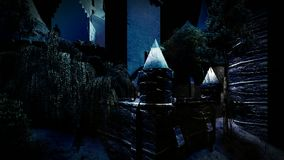 Gespenstisches Schloss in den Bergen stock footage