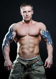 Gespierd model met tatoegering Stock Afbeelding