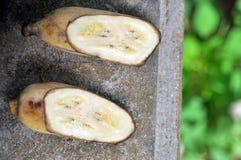 Gespleten banaan Royalty-vrije Stock Afbeeldingen