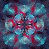 Gespleten Elliptisch Blauw Licht fractal art. vector illustratie