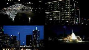 Gespleten het Schermvideo die verschillende plaatsen in Dallas tonen bij nacht stock video