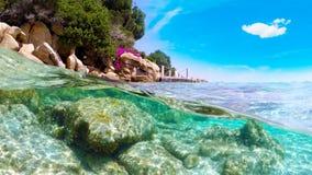 Gespleten onderwatermening van Capriccioli-strandkustlijn Stock Foto