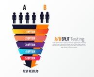 Gespleten testend vectorinfographicsconcept van ab met mensen vector illustratie