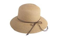 Gesponnene Hüte verziert mit braunem ledernem Seil lizenzfreies stockfoto