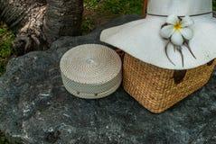 Gesponnene Handtaschen und breitrandige Hüte stockbild