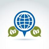 Gespräch auf Ökologiethema, Rede sprudelt mit grünen Blättern Stockfotos
