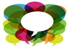 Gespräch in den Media der Farbensprache bubbles.social. Lizenzfreies Stockbild