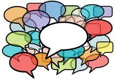 Gespräch in der Farbenrede sprudelt Sozialmedia Lizenzfreies Stockbild